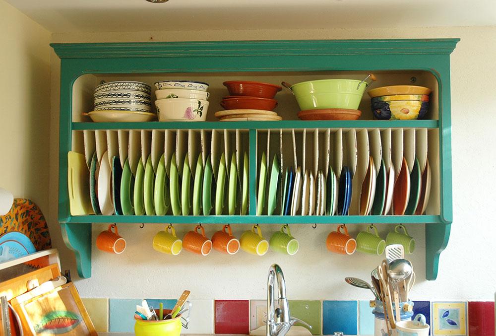 ארון מטבח, ספריית ייבוש צלחות בטורקיז