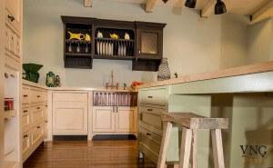 אי למטבח כפרי משטח עץ