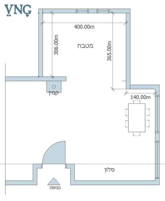 תכנית הבית באזור סביבת המטבח