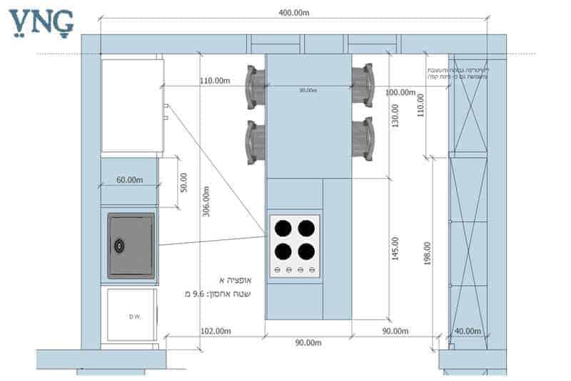 אופציה א', תכנון המטבח במבנה 3 פסים