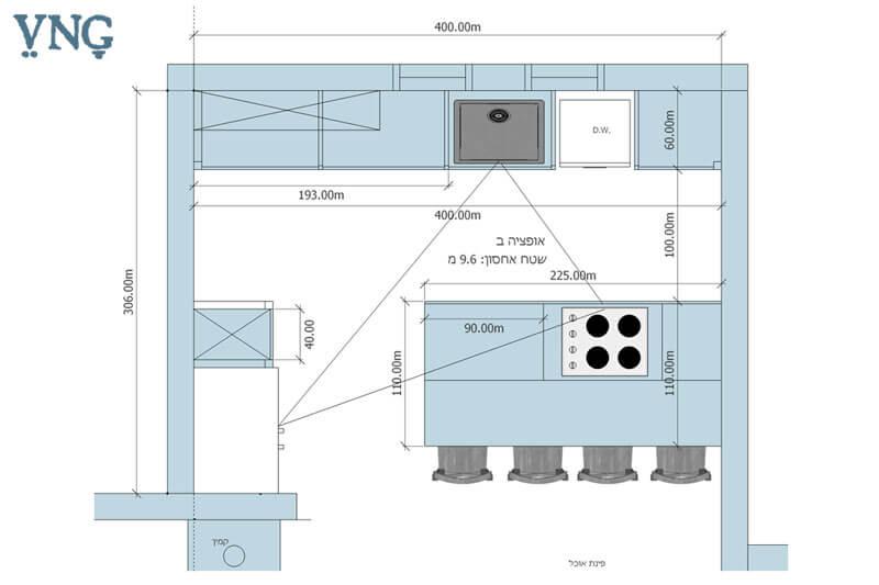 אופציה ב', תכנון המטבח במבנה 2 פסים