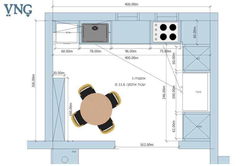 אופציה ג', תכנון המטבח במבנה ר' עם פינת אוכל עגולה
