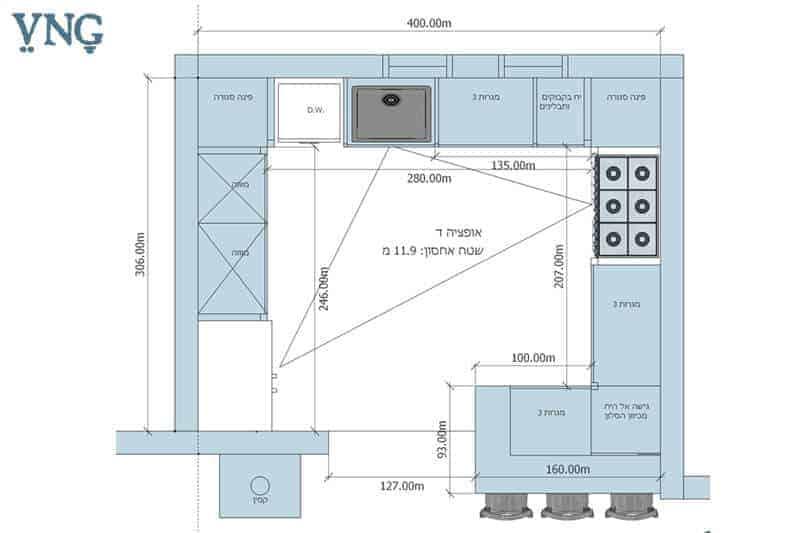 אופציה ד', תכנון המטבח במבנה ח' עם דלפק אכילה